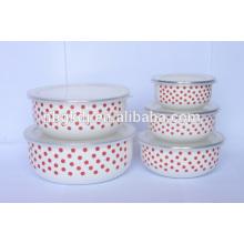 5 pc printed enamel bowl & Chinese style enamel coating bowl