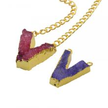 Colorful Crystal Alphabet Letter V Pendant Necklace