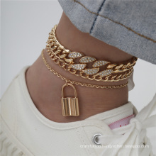 European and American Gold Silver Retro Temperament Punk Hip Hop Ins Cuba Diamond Multi-Layer Chain Lock Pendant Fashion Jewellery Anklet Bracelet for Women