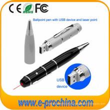Movimentação feita sob encomenda do flash de USB do logotipo da esferográfica da pena de USB para a amostra grátis