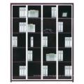 2015 новый дизайн из дерева со стеклянным и металлическим книжным шкафом