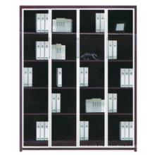 2015 nuevo diseño de madera con estantería de vidrio y metal