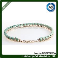 Ladies Green Metal Real Braided Leather Bracelet