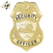 New design products antique stamping zinc alloy shield security gold badge pin lapel with box