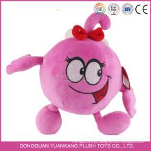 BSCI personalizado adorável brinquedo macio 7 polegada bordado vermelho personagem de desenho animado boneca de pelúcia