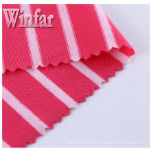 Tissu de polyester de Spandex de teinture de fil de jersey simple de textile