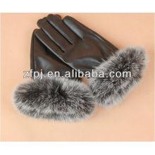 Forme a señoras la piel real del conejo, guantes de cuero de la piel de Fox