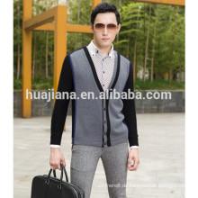 2015 mode-stil männer 100% kaschmir-strickjacke