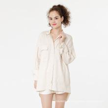 Camisa de lino de algodón camisas de lino de manga larga