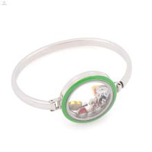 Aço inoxidável 316l de alta qualidade esmalte verde flutuante medalhão pulseira pulseira