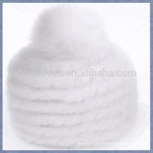 White Mink Fur Cap com uma sólida esferas