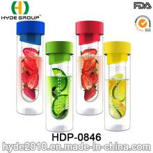 Botella de agua del infuser de la fruta libre de Tritan de 24oz BPA, botella de agua plástica modificada para requisitos particulares (HDP-0846)