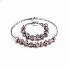 Mesdames mariage 316l breloque en acier inoxydable bracelets collier bijoux ensembles pour les femmes