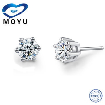 925 sterling silver tiny crystal stud earring