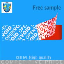 Impressão personalizada Tamper Evident Tipo de etiqueta de segurança com excelente função