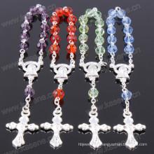 Смешанный цвет 6мм разделе кристалл Серебряный религиозный браслет