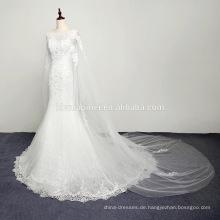 Ein Ärmel formelle Drape asymmetrische Brautkleid