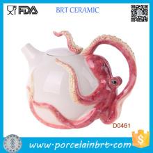 Grande presente vermelho circular polvo bule de cerâmica