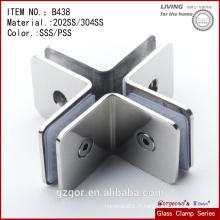 Fabriqué en Chine 304SS croix de serrage de quatre côtés / verre à serre / charnière en verre