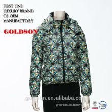 2017 Versión italiana Slim sexy corto abajo chaquetas / abrigos para las mujeres / señora con capucha lisa