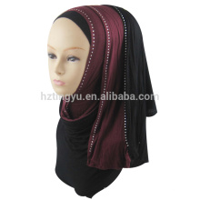 Últimas mulheres da moda usam gradiente rampa jersey pedra stretch impresso hijab