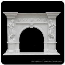 La pierre de décoration à la maison découpent le manteau blanc de cheminée de marbre blanc
