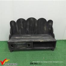 Rustic Stained Wooden Black Bancos de interior con almacenamiento