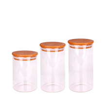 Borosilicate glass jar with bamboo lids cylinder glass herb storage jars