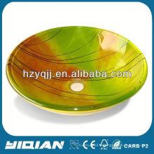 Lavabo coloré en verre tempéré de haute qualité lavabo coloré