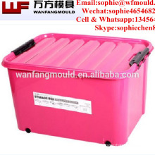 China Taizhou rectangle 30l plastic injection storage box bin mould for sales plastic storage box moldings factory