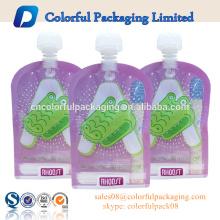 El canalón plástico de la bolsa del bolso ziplock de la fábrica ODM se levanta la bolsa con el embalaje del canalón para el agua para el jugo