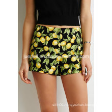 Lemon Print Concealed Side Zipper Flat Front and Pocketless Design Shorts