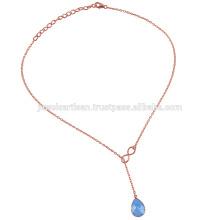 Голубой Оникс Розовое Золото Покрыло Ожерелье Серебро Капля