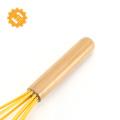 Fouet en silicone avec manche en bois, famille de batterie de cuisine anti-adhésive, durable et fonctionnel