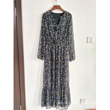 Damen Bodenlanges Maxikleid Chiffon-Kleid mit Blumendruck