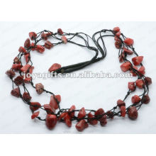 3Wire Knotted Red Coral Chip Necklace
