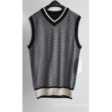 V-Neck Summer Striped Sleeveless Hommes Sweater