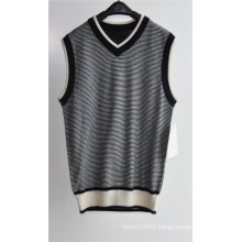 V-Neck Summer Striped Sleeveless Men Sweater