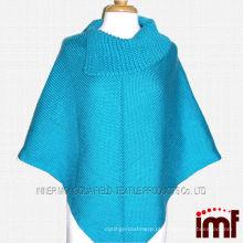 Plus Size Senhoras Crochet Knit Padrão Poncho