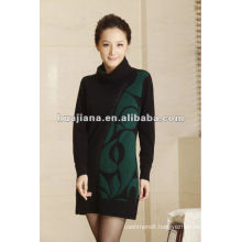 elegant women's highneck cashmere winter dress