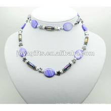 Fashion Hematite Wrap With Purple Pearl Shell
