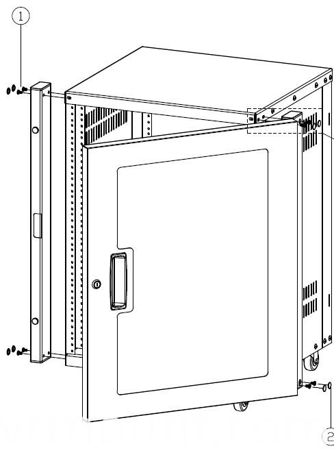 AV RACK with door line drawing1