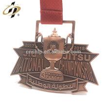 Medalla de la taza de Jitsu del metal 3D de la aleación de bronce antigua de la aleación