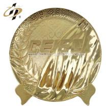 China Professional Cheap Customized logos 24k gold souvenir birthday return gift metal plate logo