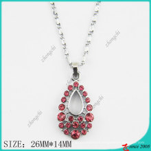 Rose Pink Crystals Drop Fashion Necklace (PN)