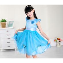 дешевые платья 110-160 см на детский праздник Рождественский синий вечерние платья Новый год красивую одежду на продажу
