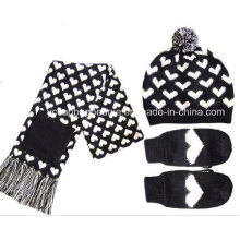 Knitted Winter Hat Gloves Scarf Set