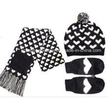 Malha chapéu de inverno luvas cachecol conjunto