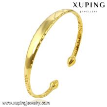 51553 Moda simples 24k banhado a ouro jóias pulseira em liga de metal