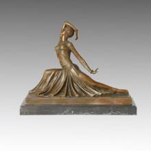 Tänzer Bronze Skulptur Figur Clara Dekor Messing Statue TPE-176